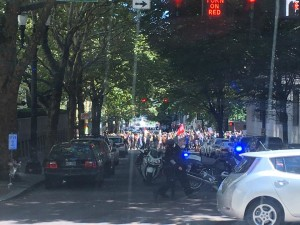 motorcycle cops and protest